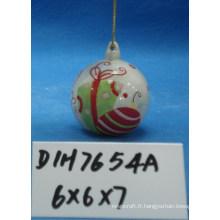 Boule suspendue en céramique peinte à la main pour décoration d'arbre de Noël