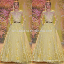 Exquisite 2014 Yellow Ball Gown Wedding Dress Jewel Neck Long Sleeve Sheer Top Flower Lace Bridal Gown NB0620