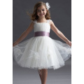 Ball Gown Wide Straps Knee-length Taffeta Yarn Tiered Flower Girl Dress