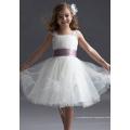 Vestido de baile Tiras largas na altura do joelho Tafetá Fio Em camadas Menina de flor