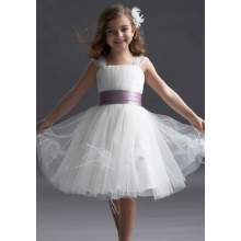 Ball Gown Wide Straps Knee-length Taffeta Yarn Tiered Flower Girl Dress