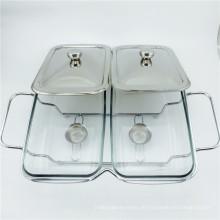 Billiges Glas Chafing Pot / versilberter Chafing Dish