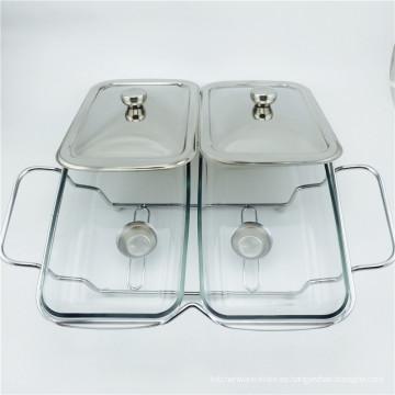 Olla de cristal barato / platillo plateado plateado