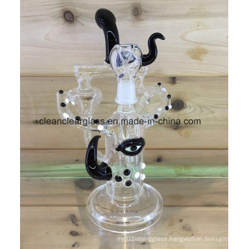 Creative Handblown Glass Water Pipe Smoking Pipe Recycler with Glass Bowl