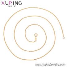 44690 xuping GZ moda mercado de jóias colar de corrente simples em 18k chapeamento fornecendo amostra grátis