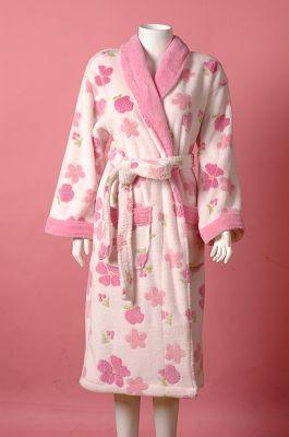 Printed Design Coral Fleece Bathrobe