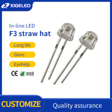 Straw hat lamp beads red F3 LED