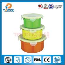 Tigelas de mistura coloridas de aço inoxidável 3PCS ajustadas