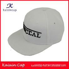 logotipo 3D de alta calidad y promocional en borde plano de fuente 5 paneles sombreros de campista con correa de cuero atrás