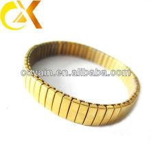 Brazalete elástico de chapado en oro de acero inoxidable 316L