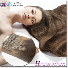 Factory Direct 120 160 220 260 grams/set Double Drawn Thick Ends Triple Weft With Lace Attached Clip in Hair Extension