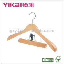 Wooden Suit Hanger with Wide Shoulders and Trousers Clamp