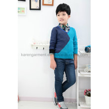 Children V-Neck Contrast Color Capitals Sweater