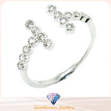 Precio de fábrica Alta calidad Venta al por mayor 2016 Joyería de la plata esterlina del cristal 925 de la manera para el anillo de diamante de la boda del oro blanco del contrato de las mujeres de los hombres (R10413)