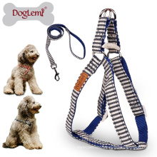 DogLemi Nature Canvas Stripe Design Pet Harness Set Dog Puppy Cat Step in Harness Outdoors Dog Harness