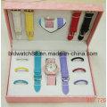 Дамы Подарочный набор часы со сменными ремешками и сменные кольца