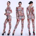 2017 Europea fashion women ultra-sexy long sleeve net yarn lace splicing pants jumpsuits