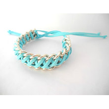 Braided bracelet turquoise leather and chain bracelet spring bracelet