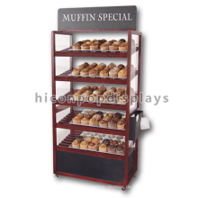 Bakery Store Instore Werbeartikel Movable Floorstanding Günstige Dark Wood Brot Display Racks