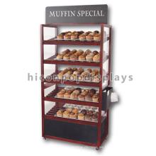 Tienda de panadería Instore Equipo de publicidad Soporte móvil Barato pan de madera oscura Racks
