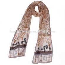 Chinoise en gros, imprimé longue soie écharpe en mousseline longue