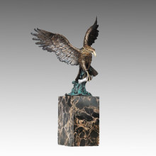 Animal Bronze Sculpture Eagle Carving Brass Statue Tpal-290