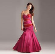 Chic Trumpet Mermaid Sweetheart Strapless Floor-length Taffeta Beading Ruffled Evening Dress