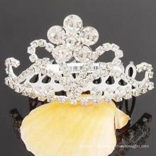 Acessórios de cabelo de casamento banhado a prata cristal tiara barrette