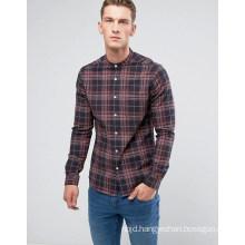 Skinny Buffalo Check Shirt with Grandad Collar