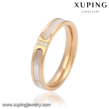 Fashion CZ Glass 18k Gold-Plated Women Imitation Stainless Steel Jewelry Finger Ring -13781