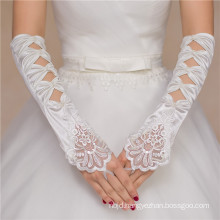 Satin fingerless lace appliques bridal accessories high quality wedding dress lace gloves