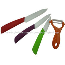 "Ceramic kitchen knife set, hot-selling, 4/5/6"" knives with colorful handles, yellow peeler"