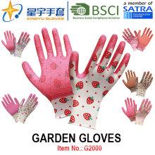 Gartenhandschuhe, Druck Polyestershell Latex beschichtetes Crinkle Finish Sicherheitsarbeitshandschuhe (G2000) mit CE, En388, En420
