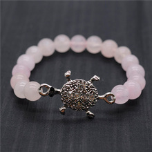Rose Quartz 8MM Round Beads Stretch Gemstone Bracelet with Diamante alloy tortoise Piece