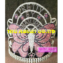 fashion jewelry new design headband crystal colored butterfly tall crown tiara