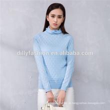 Tricô de algodão com camurça de camurça feminina camisola de malha de caxemira