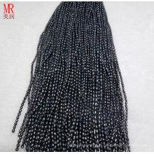 6-7mm brins de riz noir à perles d'eau douce (ES371)