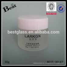 50g frasco de crema en forma de helado con tapa de color rosa, frasco de crema de vidrio para la venta, cuidado personal frasco de cuidado de la cara