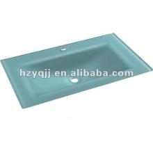 Moderno diseño simple lavabo de cristal encimera lavabo de vidrio templado cuenca