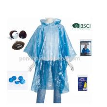 Disposable rain poncho in ball