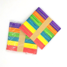 Factory direct sale 114mm*10mm*2mm colorful Ice Cream Stick Creativity Popsicle Crafts Wooden Ice cream Sticks
