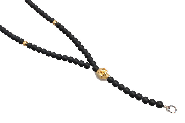 Gold Plated Single Skull Head Charm Bead Necklace