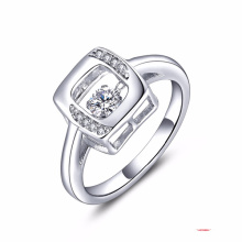 Dancing Diamond Jewelry 925 Silver Rings CZ Set