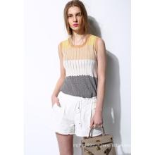 Senhoras cor knit pullover camisola colete