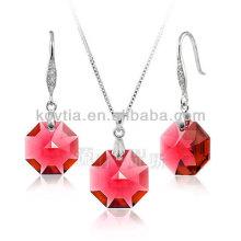 Atacado encanto rubi jóias conjunto de jóias de casamento de cristal vermelho conjunto