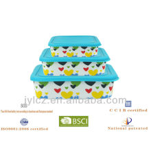 heart design ceramic square food storage with silicone lid, set of 3
