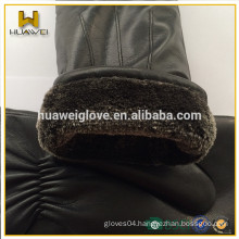 Professional Mitten Factory Customed Winter Thick Fur Leather Mittens for women and men