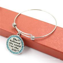 High-end pulseira de jóias de aço inoxidável, ajustável braceletes