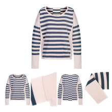 Women Cashmere Knitted Sweater with Stripes