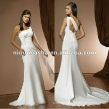 Simple Long Baldric One Shoulder Beaded Ornament Sheath Pleated Court Train Wedding Dress Bridal Gown